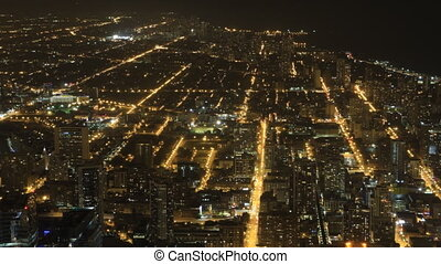 Wide aerial view of Chicago at night
