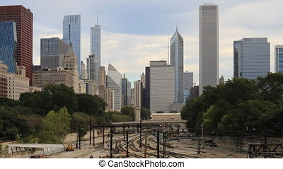 Timelapse an aerial of the Chicago, Illinois skyline -...
