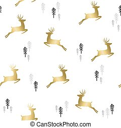 Gold christmas deer with tree pattern background
