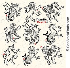Heraldic beasts. Vector Illustration.
