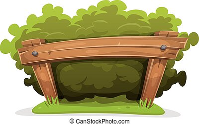 Cartoon Hedge With Wood Barrier - Illustration of a cartoon...