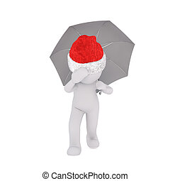 Little 3D character in santa hat and umbrella - Little 3D...