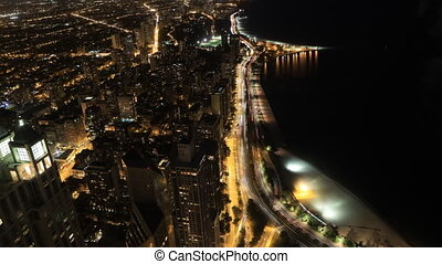 Timelapse aerial of the Chicago city center