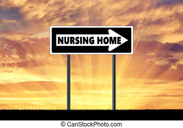 Silhouette pointer road sign nursing home