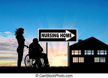 Silhouette of a nurse caring for an elderly man in a wheelchair