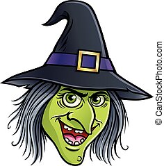 Wicked Witch Face - Cartoon illustration of a smiling wicked...