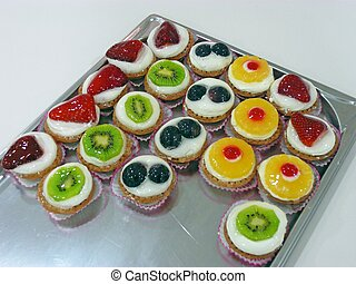 cakes on a tray