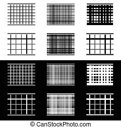Set of abstract geometric elements with lines in black and...