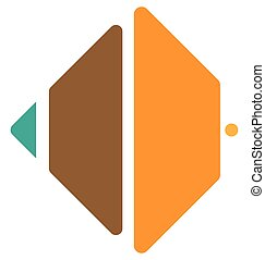 Segmented square icon, logo shape Square cut in fourth