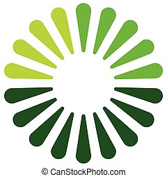 Logo shape, element in 3 colors with radial, concentric...