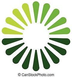 logotipo, forma, elemento, en, 3, colores, con, radial,...