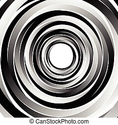 Geometric spiral pattern with concentric circles, rings....