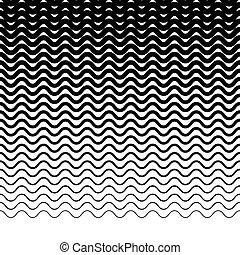 Parallel wavy-zigzag horizontal lines - Horizontally...