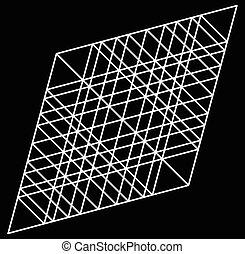 lozenge, rhombus artistic geometric element with grid, mesh