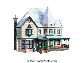 3D Rendering Victorian House on White