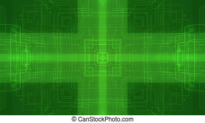 Squared green high-tech loop - Animated center focused...