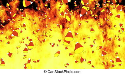 Fire background with candy corn - Animated fire background...