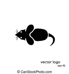 Vector illustration of mouse on white background.