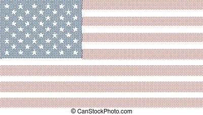 Halftone Old Glory - The Stars and Stripes flag with a half...