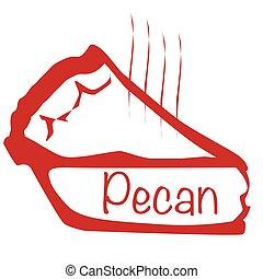 Warm Pecan Pie - Cartoon depiction of a hot pecan pie over a...