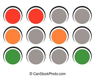 Traffic light icons, traffic lamp illustrations – Transportation, driving, traffic, control concepts