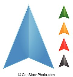 Gps arrow - pointer icon in 5 color (Change it to new colors...