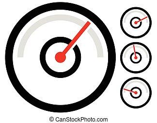 gauge meter symbol, icon at 4 stages. pressure gauge,...