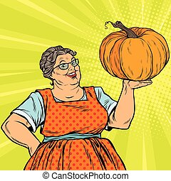Cheerful grandmother with pumpkin for Thanksgiving, pop art...