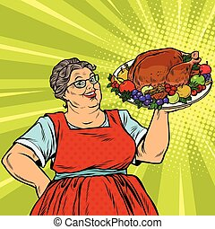 Grandma with a Christmas or Thanksgiving roast Turkey, pop...