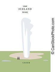 Iceland inviting postcard. Geiser vector, simple flat...