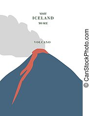 Iceland inviting postcard. Active volcano with red magma and...