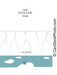 Iceland invating postcard. Glacier and icebergs vector...