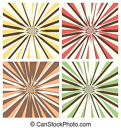 Set of Radial Sunburst Backgrounds