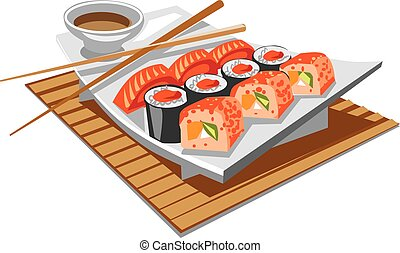 sushi with soy sauce - illustration of japanese food sushi...