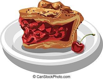 slice of cherry pie - illustration of slice of cherry pie on...
