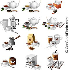 coffee and tea drinks - set of illustrations of coffee and...