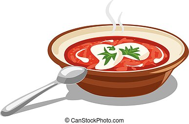 borscht with sour cream - illustration of soup borscht with...
