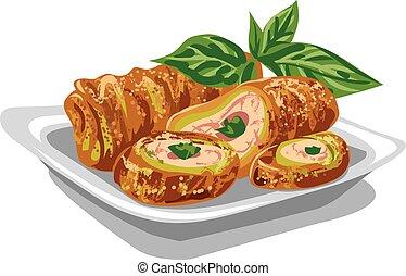 chicken rolls with salad