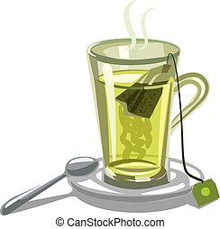 green tea in glass - illustration of hot green tea and...