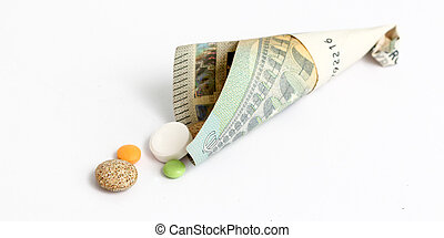 various pills, tablettes,capsules on whte background -...