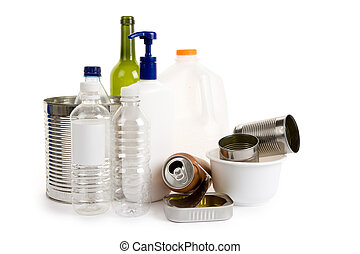 Recycling - Plastic Bottle, Can, Glass, concept of recycling
