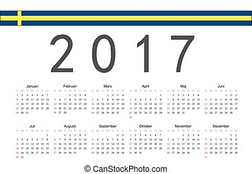 Swedish 2017 year vector calendar - Simple rectangular...