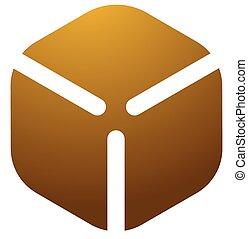 Cardboard cube box logo, icon