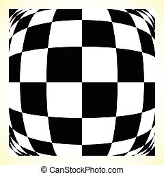Checkered pattern chess board, checker board with distortion...