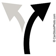 Two way arrow symbol, arrow icon. Curved arrows left and...