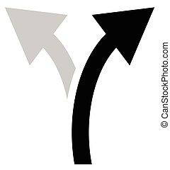 direita, maneira, setas, dois, Símbolo, Seta, curvado,...