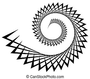 Abstract edgy spiral, volute with triangular shapes