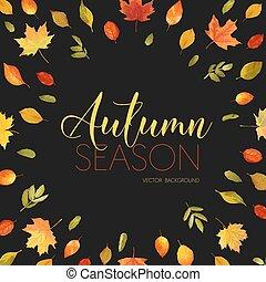 Autumn Rowan Berry Background. Floral Banner Design in...