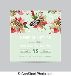 Christmas Invitation Pine and Poinsettia Card - Winter Background in Watercolor Style - vector