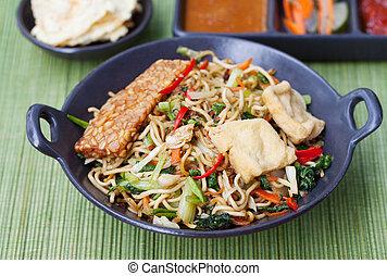 Mi goreng,mee goreng Indonesian cuisine, spicy stir fried...